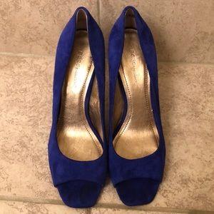 Blue suede peep toe heels